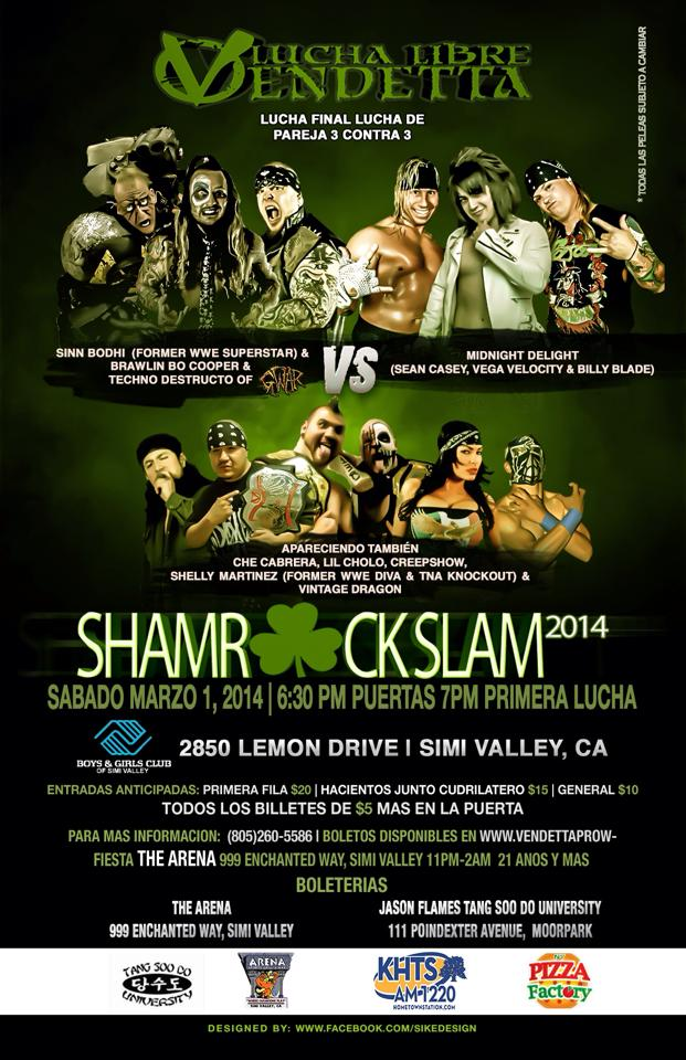 Shamrock Slam 2014 Spanish event flyer