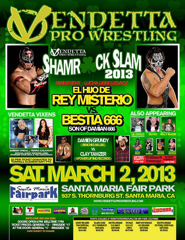 "Vendetta Pro Wrestling ""Shamrock Slam 2013"" event flyer"