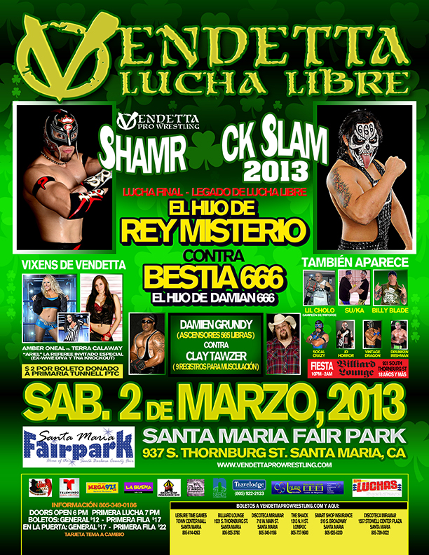 "Vendetta Pro Wrestling ""Shamrock Slam 2013"" Spanish event flyer"