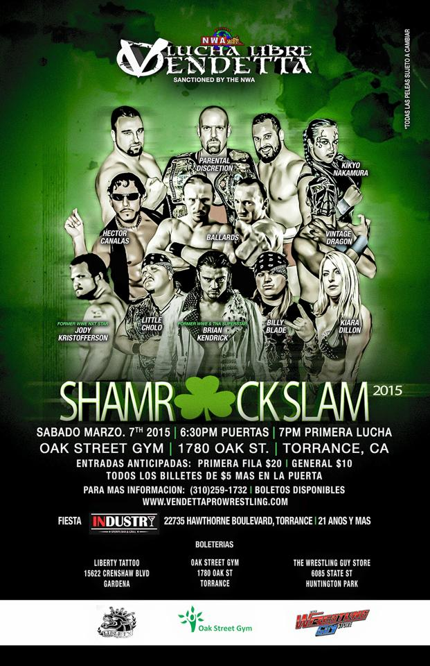 Shamrock Slam Tour 2015 Spanish event flyer