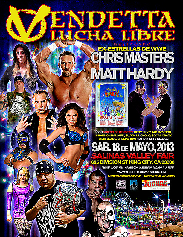 "Vendetta Pro Wrestling ""Melee 2013 Tour"" King City Spanish event flyer"