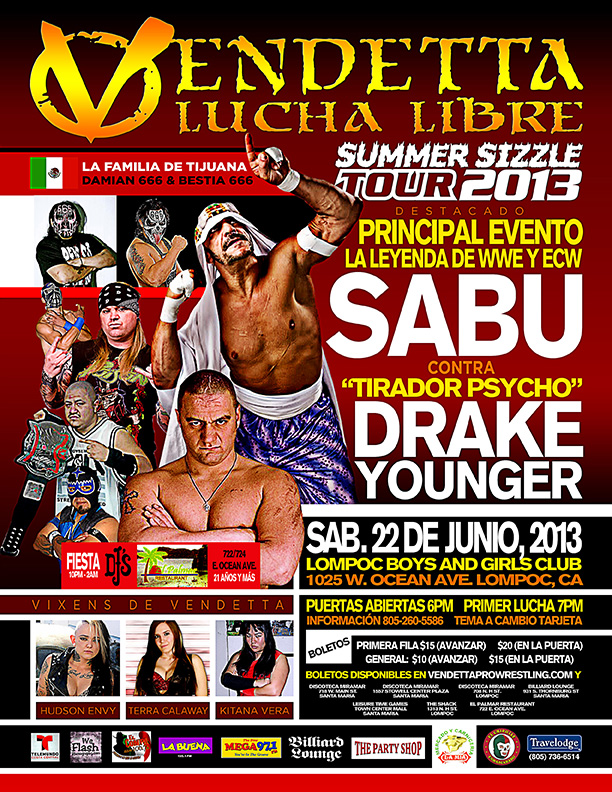 "Vendetta Pro Wrestling ""Summer Sizzle 2013 Tour"" Atascadero Spanish event flyer"