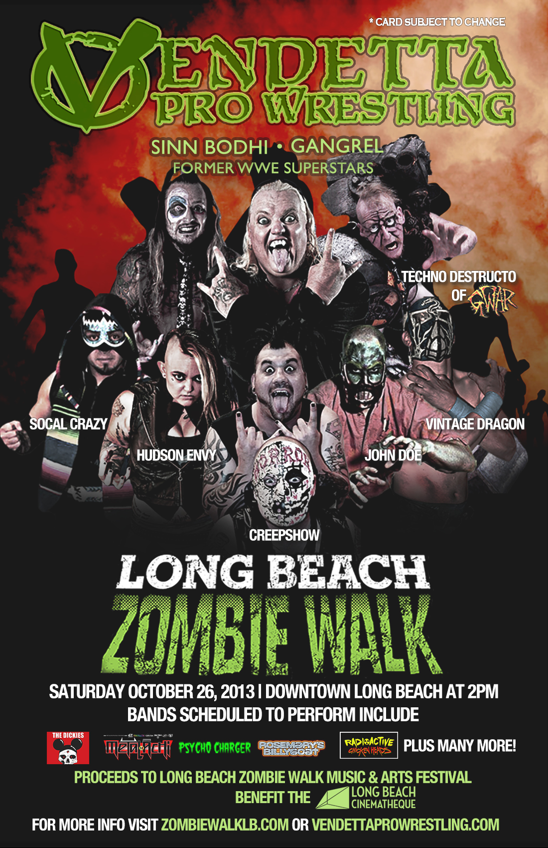 Terror Rising 2013 at the Long Beach Zombie Walk event flyer