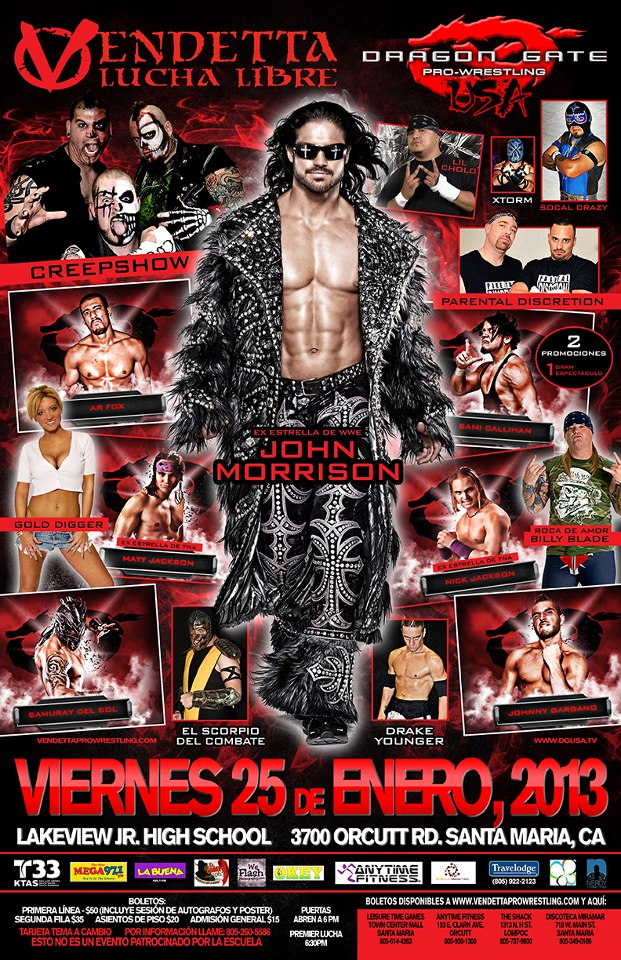 Vendetta Pro - Dragon Gate USA 2013 Spanish event flyer