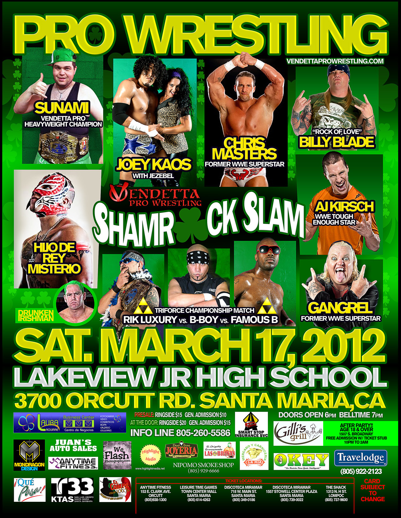 Shamrock Slam 2012 English event flyer