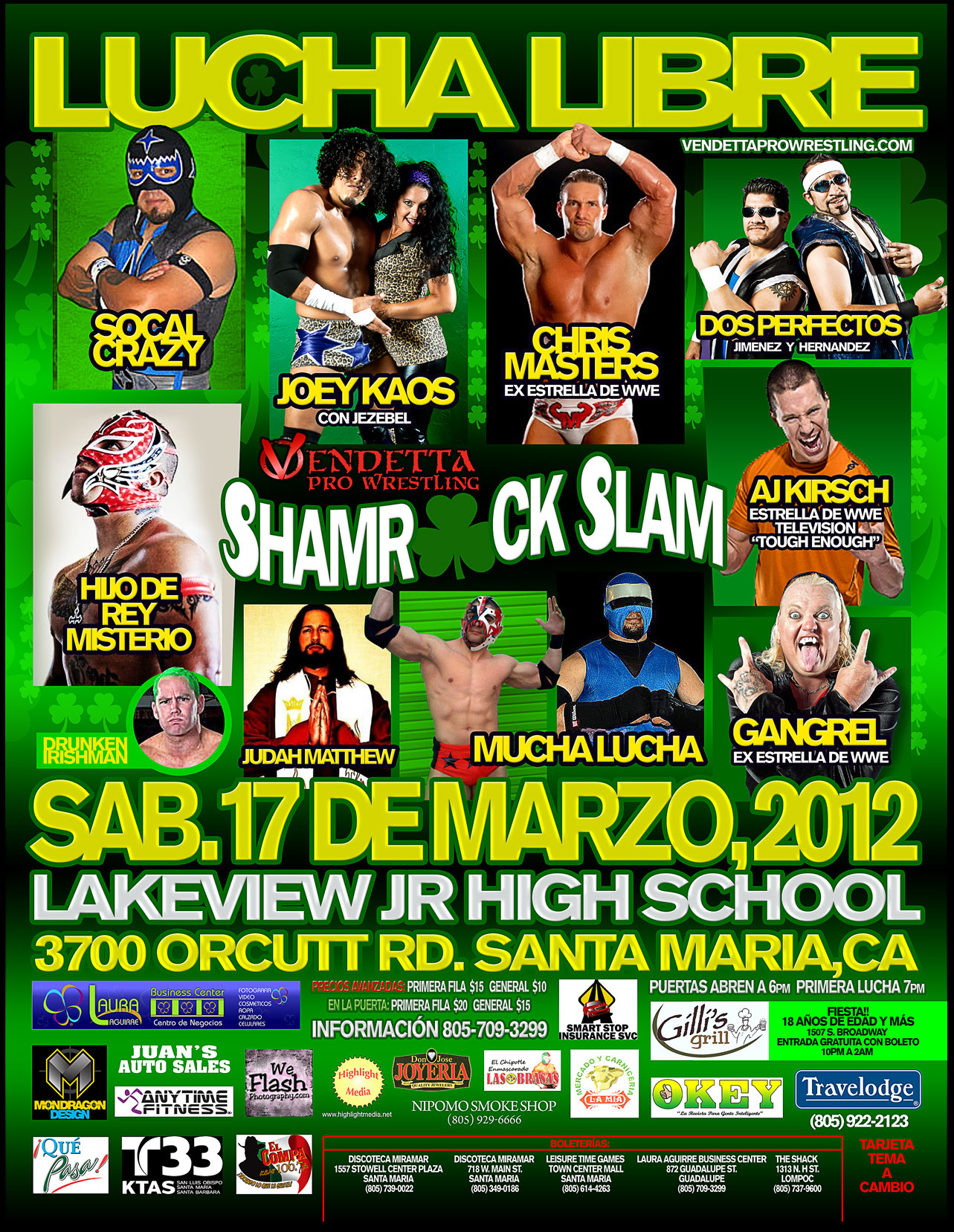 Shamrock Slam 2012 Spanish event flyer